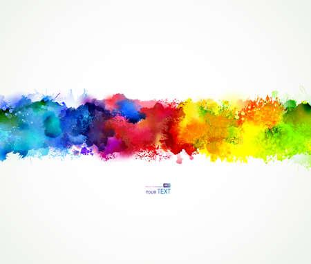 Illustration pour Bright watercolor stains. Rainbow blend. - image libre de droit