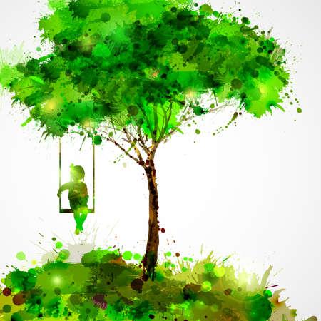 Ilustración de Summer green tree. Dreaming girl on swing. - Imagen libre de derechos