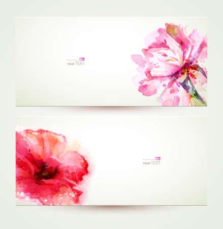 Ilustración de Two banners of flowering pink peony and poppy. - Imagen libre de derechos