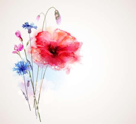Illustration pour Floral bouquet with poppy and cornflower - image libre de droit