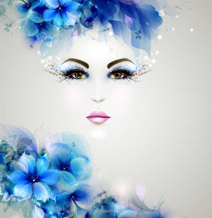 Illustration pour Beautiful abstract women with abstract design floral elements - image libre de droit