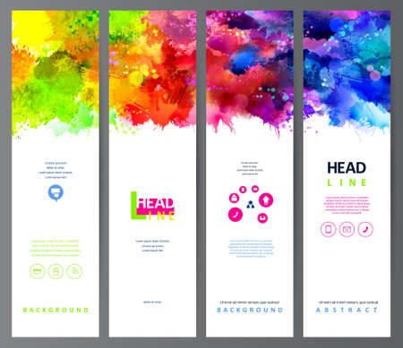 Illustration pour set of four banners, abstract headers with varicolored blots - image libre de droit