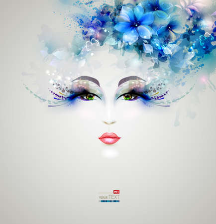Ilustración de Beautiful abstract women with abstract design floral elements - Imagen libre de derechos