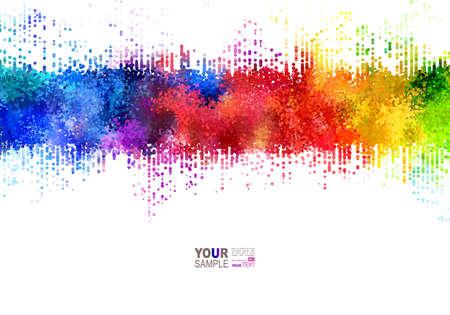 Illustrazione per Bright colored strip. Rainbow stains. Watercolor Effects. - Immagini Royalty Free