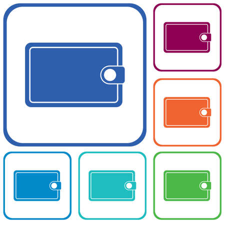 Ilustración de Wallet flat vector icon. Isolated wallet vector sign - Imagen libre de derechos
