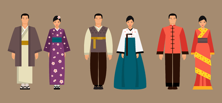 Illustration pour Asian men and women in national costume of Japan, Korea and China - image libre de droit