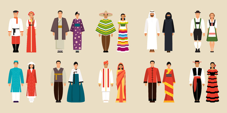 Illustration pour Big set of national costumes. Russian and Japanese, Chinese and Korean, Mexican and Spanish and Arabic, German, Indian and Vietnamese traditional costumes - image libre de droit