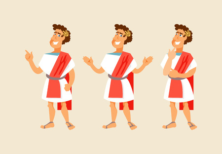 Illustration for Roman cartoon character with different gestures. Vector illustration - Royalty Free Image