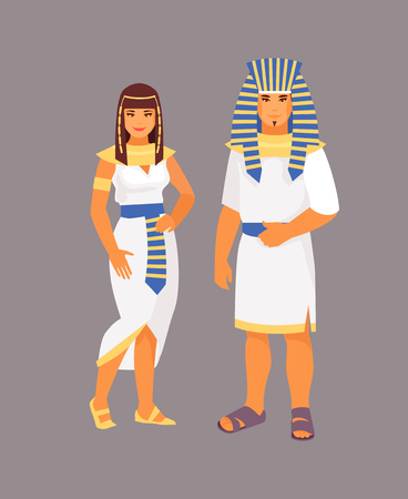 Illustration for Egyptian man and woman in traditional clothes. Vector illustration - Royalty Free Image