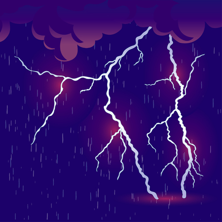 Storm and lightning with heavy rain. Vector illustration