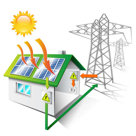 Illustration pour illustration of a house equipped for sale and use solar energy, isolated - image libre de droit