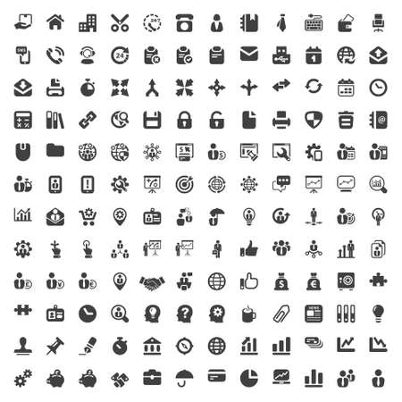 Foto de set of isolated icons for business and office black - Imagen libre de derechos