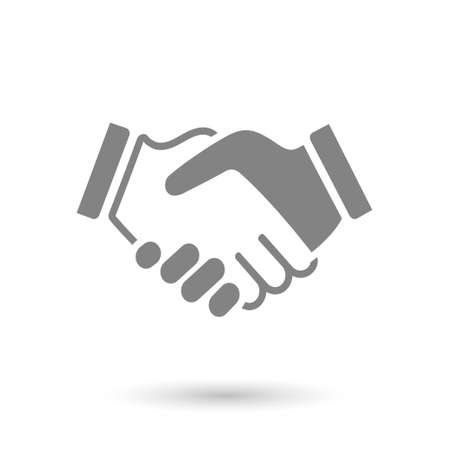 Illustration for gray icon handshake. background for business and finance - Royalty Free Image