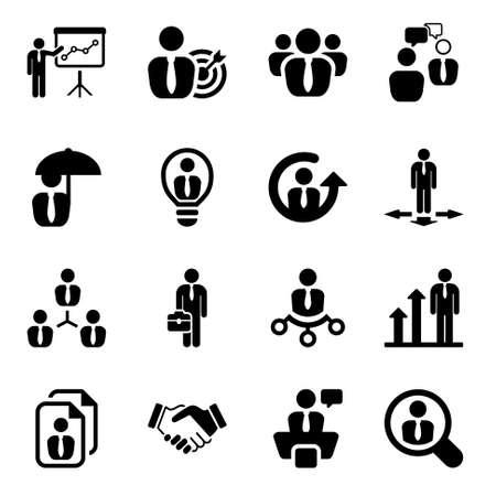Illustration pour icon set in black for business & human resources.flat - image libre de droit