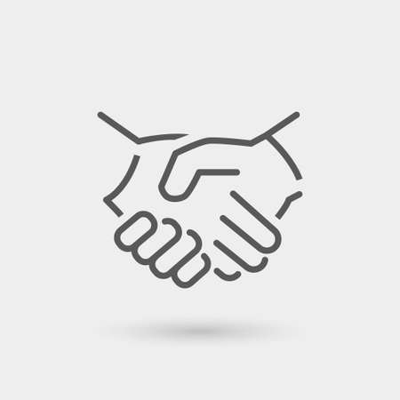 Illustration pour business icon handshake, thin line, black color with shadow - image libre de droit