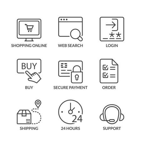Illustration pour shopping online icons set, thin line, black color - image libre de droit