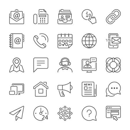 Photo pour basic contact and communication icon set, thin line, black color - image libre de droit