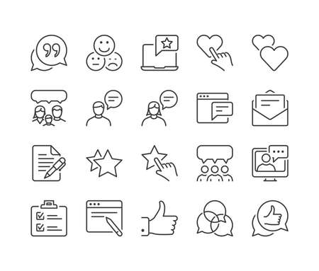 Illustration pour feedback and testimonials thin line icon set, black color, isolated - image libre de droit