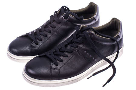 Photo for Black mens sneakers with white soles - Royalty Free Image