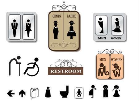 Illustration pour Toilet sign vector set - image libre de droit