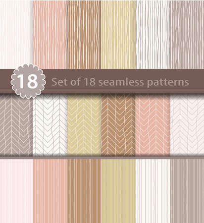 Photo pour Set of 18 seamless patterns, wood, line art design - image libre de droit