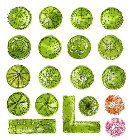 Photo pour set of treetop symbols, for architectural or landscape design. - image libre de droit