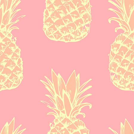 Illustration pour Seamless pattern with hand-painted pineapple - image libre de droit