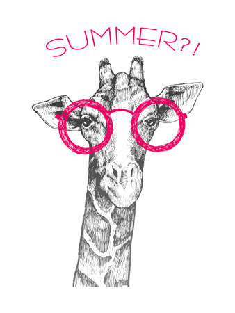 Illustration pour The head of a giraffe hipster. Giraffe in pink round glasses. Hand-drawn sketch of a giraffe. Giraffe from the front. The word summer ?!. Retro Fashion - image libre de droit