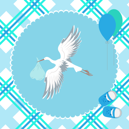 Ilustración de Stork with a child flying in the sky, air balls and children's sandals. To decorate a postcard, album. Vector illustration. - Imagen libre de derechos