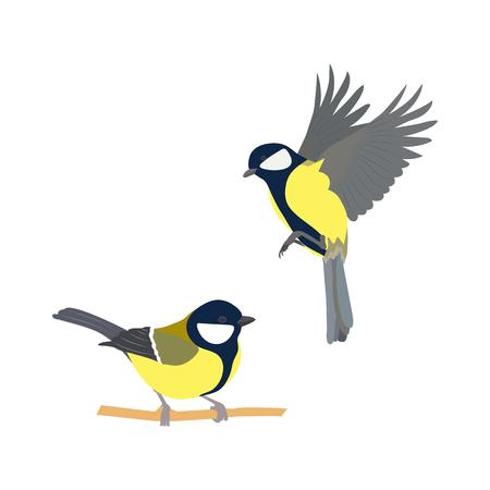 Ilustración de Vector illustration of birds on white isolated background. - Imagen libre de derechos