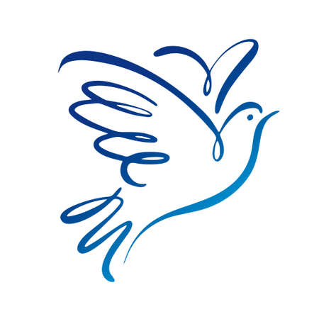 Illustration for Dove vector logo template. Concept logo. - Royalty Free Image