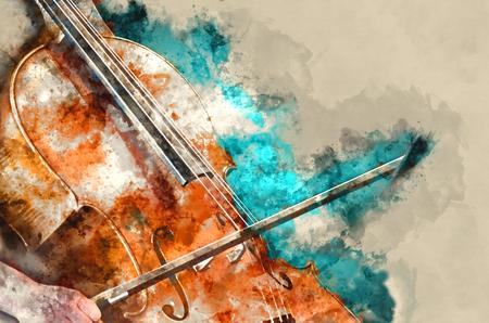 Foto de Detail of a woman playing cello art painting artprint - Imagen libre de derechos