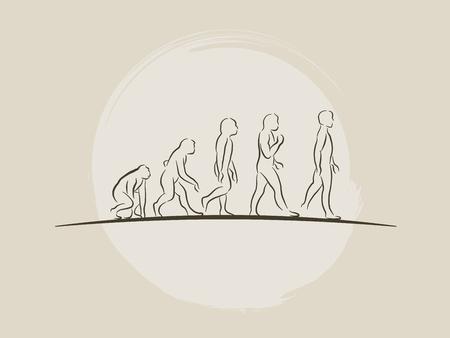 Illustration for Theory of evolution of man - Human development - Hand drawn sketch vector illustration darwin - Royalty Free Image