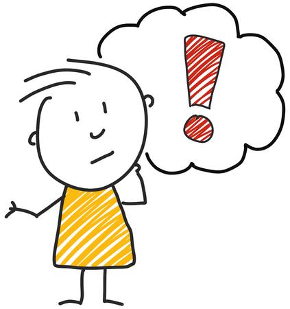 Ilustración de stick man standing and thinking bubble expression illustration - Imagen libre de derechos