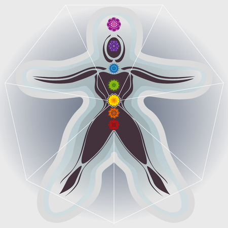 Illustration pour Body and Mandalas 7 Chakras, Auras and Heptagone - image libre de droit
