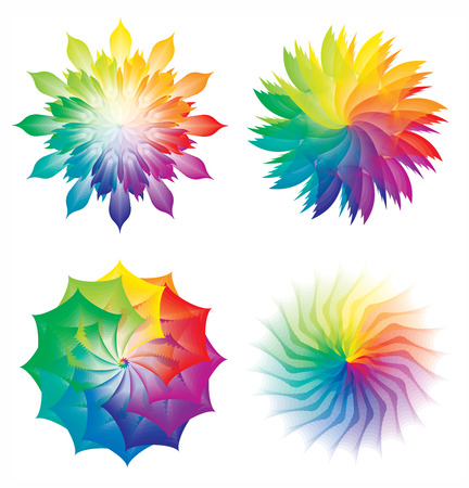 Illustration pour Set of Color Wheels Circles Flowers Rainbow Colors - image libre de droit