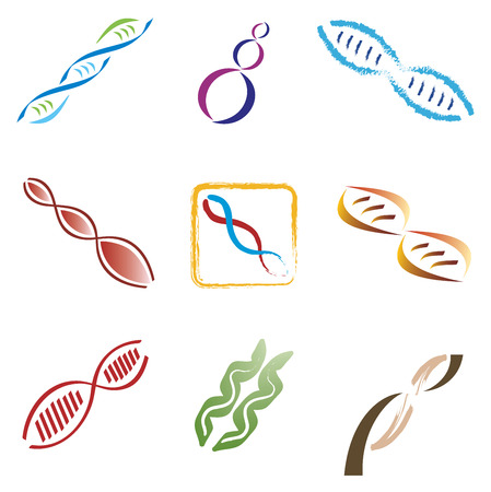 Illustration pour Set of 9 DNA Molecule Icons - image libre de droit