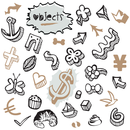Illustration pour Set of Doodles - Elements and Objects Black and Brown - image libre de droit