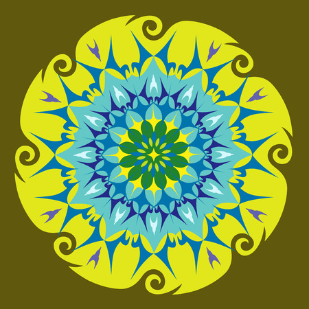 Illustration pour Energy Mandala in Green Colors - Spinning Shape - Flower Pattern - image libre de droit