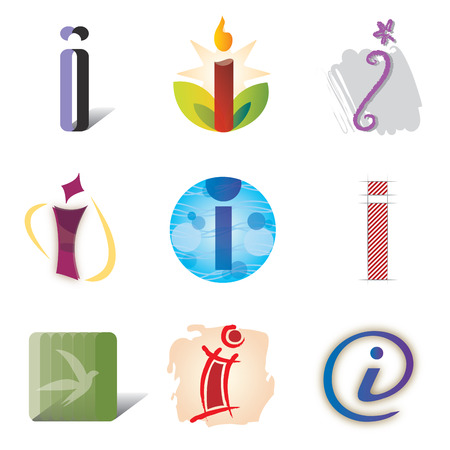 Illustration pour Set of Icons and Logo Elements Letter I - image libre de droit