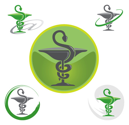 Illustration pour Set of Logos with Caduceus Symbol in Green - image libre de droit