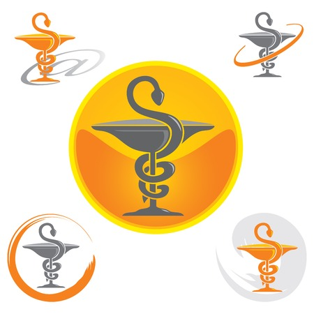 Illustration pour Set of Logos with Caduceus Symbol in Yellow - image libre de droit