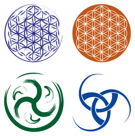 Illustration pour Set of Celtic Symbols - Triskel Celtic Knot and Flower of Life - image libre de droit