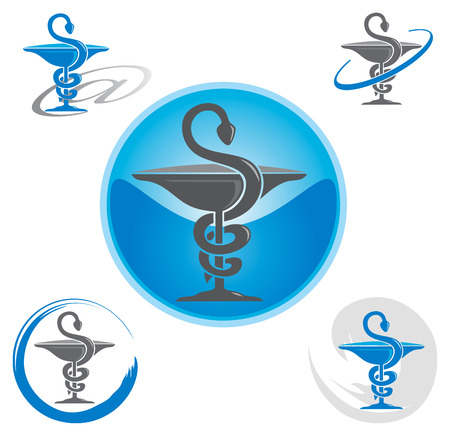 Illustration pour Set of Icons with Caduceus Symbol Blue - Health / Pharmacy - image libre de droit