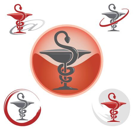 Illustration pour Set of Icons with Caduceus Symbol Red - Health / Pharmacy - image libre de droit