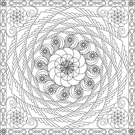 Illustration pour Page Coloring Book for Adults Square Format Spiral Geometric Flower Design Vector Illustration - image libre de droit