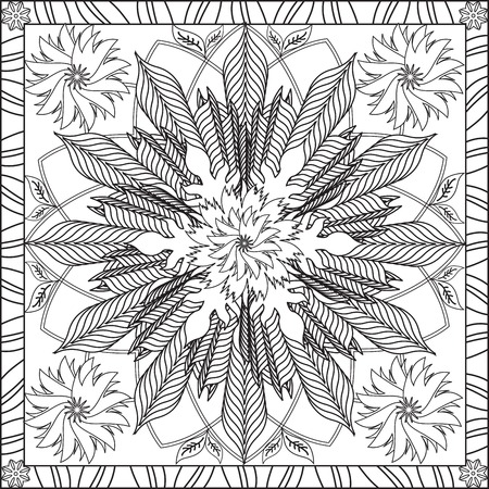 Illustration pour Page Coloring Book for Adults Square Format Flower Geometric Design Vector Illustration - image libre de droit