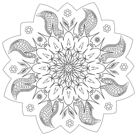 Illustration pour Mandala - Flower, Nature, Energy Circle Symbol in Black and White - image libre de droit
