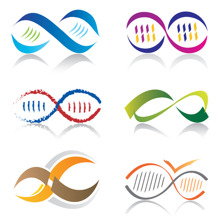 Illustration pour Set of Infinity Symbol Icons / DNA Molecule Icons - image libre de droit
