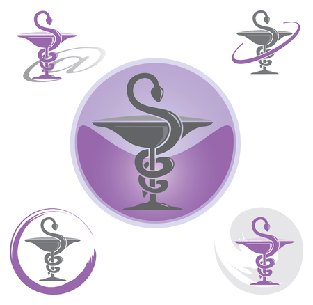 Illustration pour Set of Icons with Purple Caduceus Symbol - Health / Pharmacy - image libre de droit